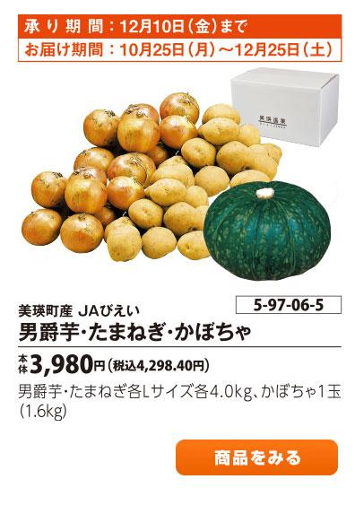 美瑛町産 JAびえい 男爵芋 たまねぎ かぼちゃ